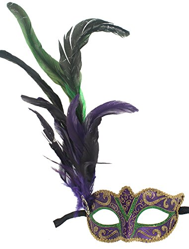 RedSkyTrader Womens Mardi Gras Mask with Feathers