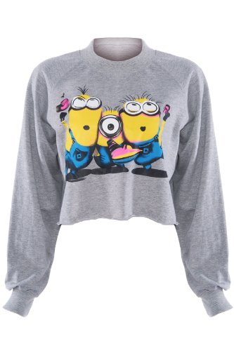 Romwe Women'S The Minion Of Despicable Me Patterns Long Sleeves Cotton T-Shirts-Grey-One Size front-146763
