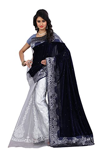 Clickedia Women & Girls Net & Lycra Embroidered Navy Blue & White Saree with matching blouse pc  available at amazon for Rs.699