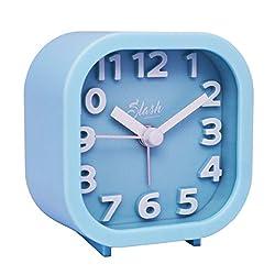 Slash 3D Digital Creative Silent Desk Alarm Clock Simple Candy Color for Sitting Room, Bedroom, Office (Blue) S10006