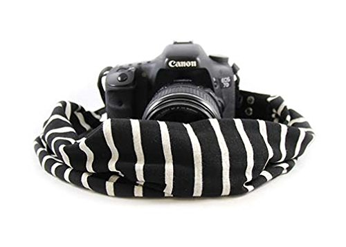 Black & Ivory Scarf Camera Strap; NEW; Classic & Comfortable; On-Trend Style; Makes the Perfect gift for any photographer