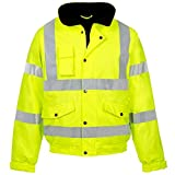 Myshoestore Men's High Visibility Bomber Jacket Work Wear Waterproof Padded Hooded Jackets