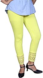 Unicraft Women's Cotton & Lycra Leggings (unicraft-031Yellow-Net)