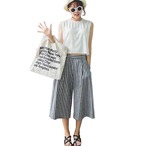 i-select さらさら コットン ストライプ ガウチョ パンツ レディース 夏 きれいめ カジュアル おしゃれ かわいい 綿 ボーダー グレー ホワイト 白 ワイド パンツ
