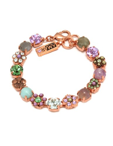 Amaro Jewelry Studio 'Spring Vibration' Collection 24K Rose Gold Plated Bracelet Embellished with Rainbow Fluorite, Labradorite, Lavender Cape Amethyst, Amethyst, Amazonite and Swarovski Crystals, Decorated with Flower and Heart Details; Handmade in Israe
