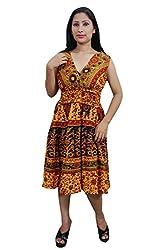 Indiatrendzs Women Dresses Yellow Printed Casual Cotton Midi Dress