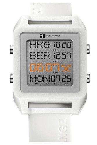 Hugo Boss - 1512819 - Orange - Montre Mixte - Quartz Digital - Cadran Gris - Bracelet Caoutchouc Blanc