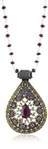 "Stella Flame ""Byzantia"" 24K Ruby Teardrop Pendant Necklace"