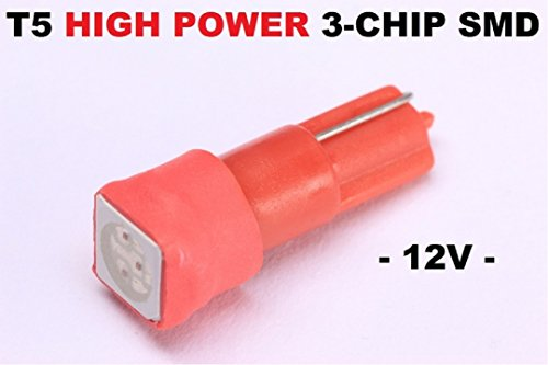 T5 LED helle 5050 SMD Tacho Umbau Knopf Beleuchtung (Rot)