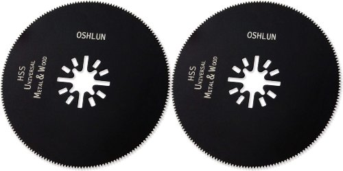 Oshlun MMA-2602 3-1/8-Inch Circular HSS Universal Oscillating Tool Blade with Uni-Fit Arbor for Fein Multimaster, Dremel, and Bosch, 2-Pack