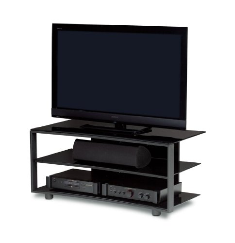 buy low price bdi vexa 9239 triple wide 3 shelf tv stand silver with black shelves vexa 9239s. Black Bedroom Furniture Sets. Home Design Ideas