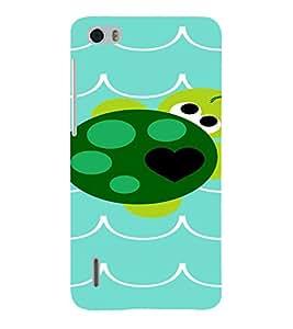PrintVisa Cute Turtle Design 3D Hard Polycarbonate Designer Back Case Cover for Huawei Honor 6