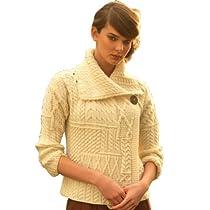 Carraig Donn White Patchwork One Button Collar Irish Merino Wool Aran Cardigan Natural,Small