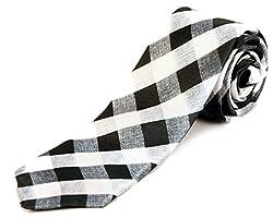 Blacksmith Black And White Husk Checks Design Tie
