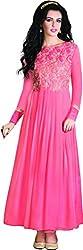 Kaarvaan Women's Silk Unstitched Dress Material(VFP 9012_Peach_FreeSize)