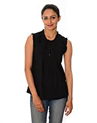 Oviya Women's Black Solid Tops