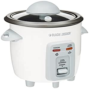 Black & Decker RC3203 3-Cup Rice Cooker, White
