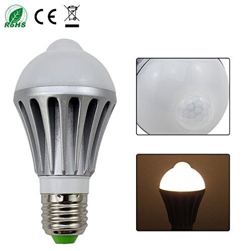VINGO® 7W E27 LED Birne Lampe mit Bewegungsmelder warmweiß 700Lm PIR Sensor Glühbirne