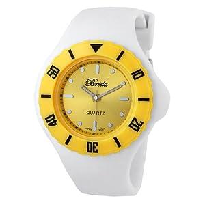 "Breda Women's 7107_yell/wht ""Zoe"" Retro Dual Color Jelly Watch"