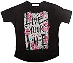 The Classic Brand Black Girls 7-16 Live Your Life Owl Short Sleeve T -Shirt