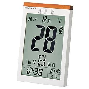 ADESSO(アデッソ) 置き掛け兼用電波デジタル置き時計 日めくり六曜表示 温度・湿度計付き ホワイト 8656