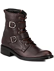 Mactree Men's Leather Double Buckle Chain+Lace Up Boots