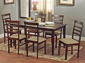 Havana 7-piece Dining Room Set, Dinette Table, Seats 6, Espresso Brown