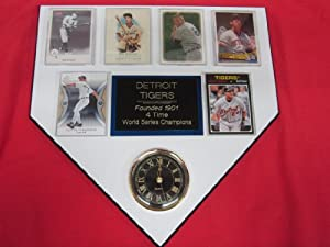 Detroit Tigers World Champions 6 Card Collector HOME PLATE Clock Plaque EXCLUSIVE... by J & C Baseball Clubhouse