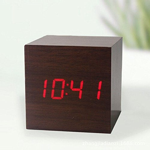 Makerfire Cube Mini Red Led Brown Base Wooden Alarm Clock With Thermometer Time Display And Sound Activated