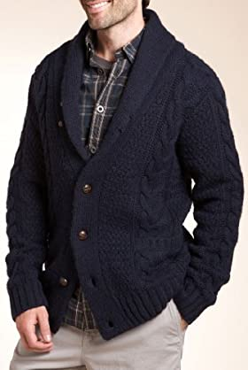 North Coast Shawl Collar Cable Knit Cardigan with Lambswool [T30-4421N-S]