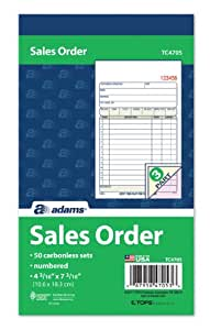 """Adams Sales Order Book, 3-Part, Carbonless, 4-3/16"""" X 7-3/16"""" Inch, 50 Sets, White, Canary and Pink (TC4705)"""