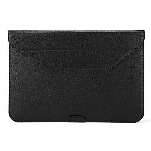 PLEMO iPad Pro レザーケース ブリーフケース12-12.9インチ スタンド機能 タブレット用保護ケース13in macbook surface book 13macbook air (ブラック)