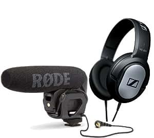 Rode VideoMic Pro - Compact Directional On-camera Shotgun Microphone with Sennheiser HD201 Headphones