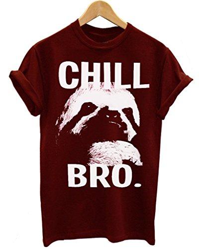 chill-bro-bradipo-rallentare-e-chill-bro-maroon-maglietta-t-shirt-small