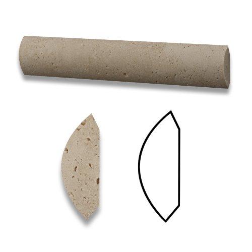 Ivory Travertine Honed 1 X 6 Qaurter Round Trim Molding - Box of 10 pcs.