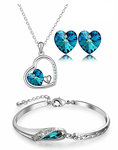 YouBella Valentine Collection Crystal Jewellery Combo of Necklace Set with Earrings and Bracelet for Girls and Women