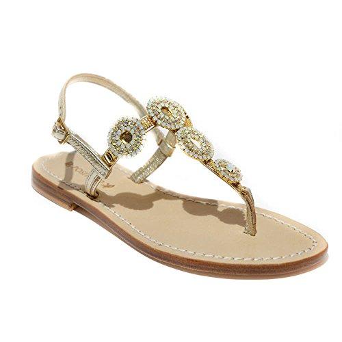 DG Positano sandalo gioiello donna pelle platino made in italy tacco1cm art.4...