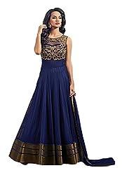 Pure Fashion Women's Cotton Unstitched Dress (Blue)