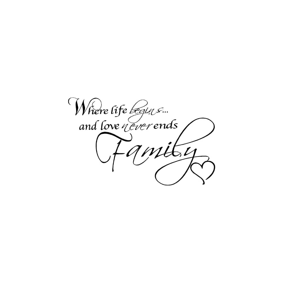 Where Life Begins and Love Never Ends, Family Wall Quotes, Family Quotes, Wall Words