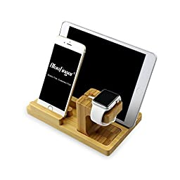BlueFinger 3222826 Bamboo Wood Charging Stand for Apple Watch, Iphone and Ipad Bundle with Pen Holder and Customized Chinese Style BookMark - Light Color