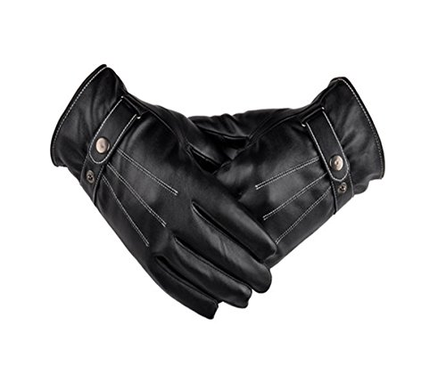 1-Pair Satisfying Chic Touch Screen Leather Warm Gloves Winter Season Outdoor Driving Windproof Colors Black