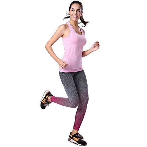 June Julien Women Pantyhose Running Workout Yuga Legging Pants Hot Pink-M