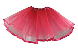 Dark Pink Satin Ribbon Lined Dance Tutu