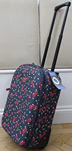 Navy Cherrys Pattern Smallest Travel Luggage Suitcase Carry On Hand Cabin On Wheels Cabin Approved Trolly Light Weight