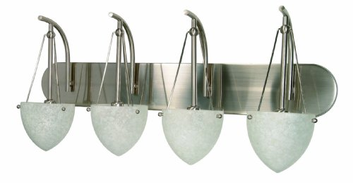 Nuvo 60/137 Four Light Vanity with Water Spot Glass, Brushed Nickel