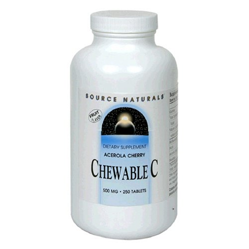 Source Naturals Vitamin C Acerola Chewable with Bioflavonoids 500mg, 250 Tablets (Pack of 2)