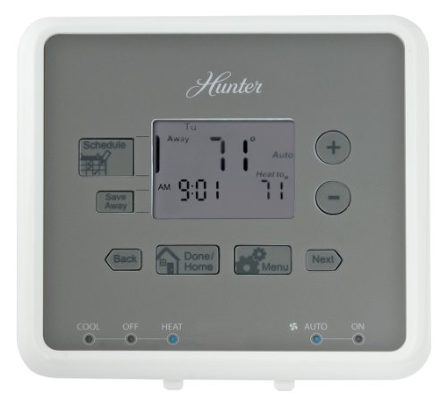 Hunter 44132 5-Minute 5-2 Day Programmable Thermostat, White