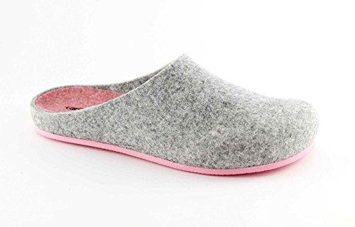 GRUNLAND EURO CB0539 grigio-rosa ciabatte donna feltro di vera lana 39