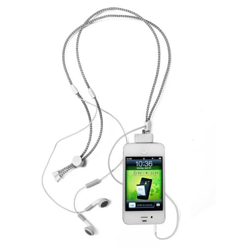 Ihangy Ihg-Ont-84730 Adjustable Lanyard Music Necklace And Earbuds For Iphone 3/3G/4/4S/Ipod - 1 Pack - Retail Packaging - White