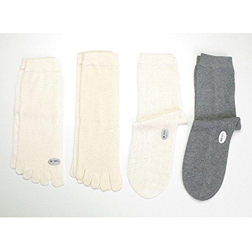 (正活絹4足セット) 冷えとり靴下(初心者用) 天然素材100% 日本製 グレー L
